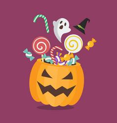 Sweet with halloween pumpkin basket vector