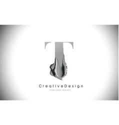t letter design brush paint stroke black t letter vector image