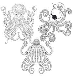 tattoo octopus set hand drawn entangle tribal vector image