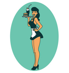 Tattoo style icon a pinup waitress girl vector