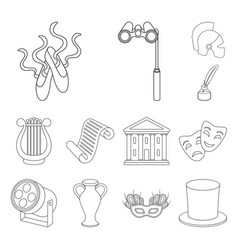Theatrical art outline icons in set collection for vector