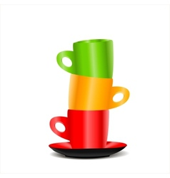 Tower of colored cups vector image