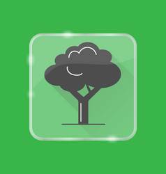 Tree silhouette icon in flat style on transparent vector