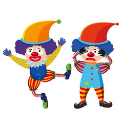 Two circus clowns in colorful costume vector