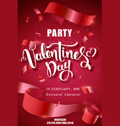valentines day party handwritten text vector image