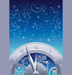 vintage clock elements on color background vector image