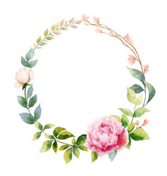 watercolor hand painting wreath of peony vector image