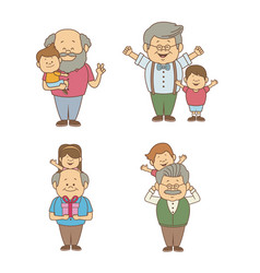 White background with set people of granpa and vector