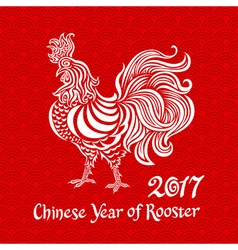 White rooster on red chinese background Chinese vector