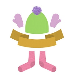 Winter clothing set Warm woolen mittens and socks vector image