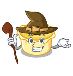 Witch egg tart mascot cartoon vector
