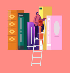 woman in library reading and searching books vector image