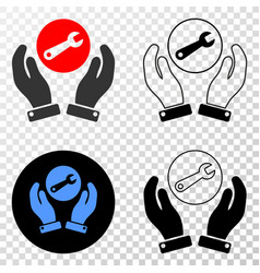 wrench repair hands eps icon with contour vector image