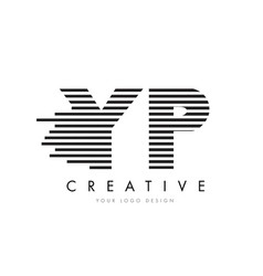 yp y p zebra letter logo design with black and vector image