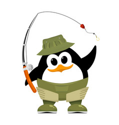 abstract penguin in fishing rubber boots hat and vector image vector image