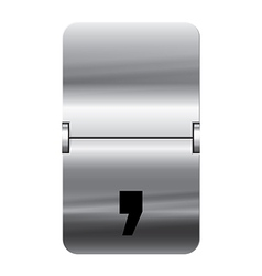 Alphabet silver flipboard letters comma vector image vector image