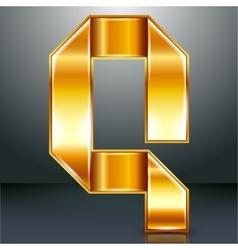 Letter metal gold ribbon - Q vector image vector image