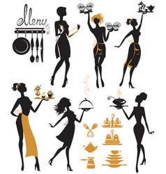 set of girl silhouettes waitress with tray vector image