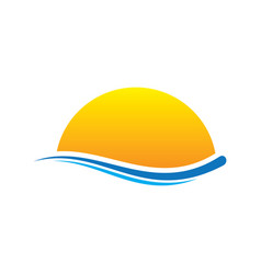 sunset wave icon logo vector image vector image