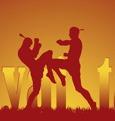 with the image of east martial artists vector image vector image