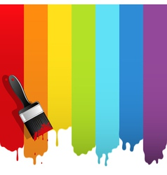 brush with rainbow paint vector image