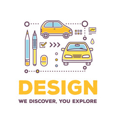 creative of linear car with drawing vector image