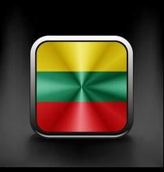 Flag of Lithuania as round glossy icon Button vector image