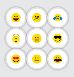 flat icon gesture set of cross-eyed face love vector image vector image