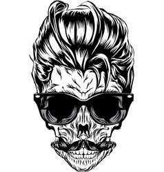 hipster skull image vector image