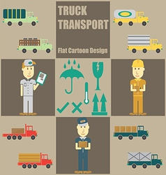 Truck Transport People Flat Cartoon vector image
