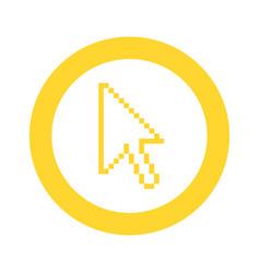 yellow symbol pixel cursor icon vector image