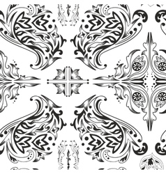 Black and white arabic pattern vector image