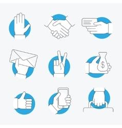 Hand Thin Line Icon Set vector image