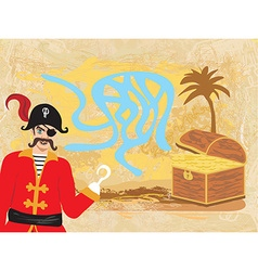 Maze game pirate looking for gold vector image