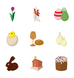 orthodox easter icons set cartoon style vector image