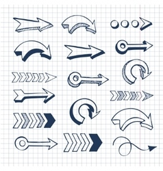 set of hand drawn arrows vector image