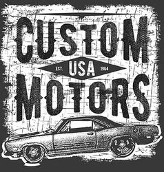 T-shirt typography design retro car printing vector image