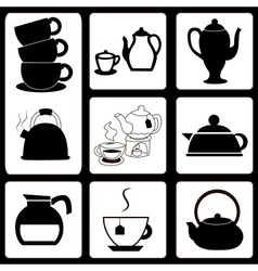 Teapots and cups set vector image vector image