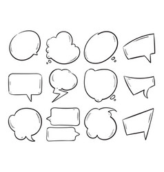 doodle blank speech bubbles hand drawn cartoon vector image vector image
