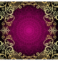 Purple vintage frame with lace mandala vector image vector image