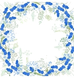 Square frame with contour muscari and herbs on vector image