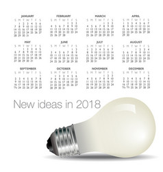 2018 idea and light bulb calendar vector