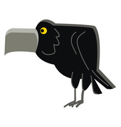 an angry black crown bird with its flat and wide vector image