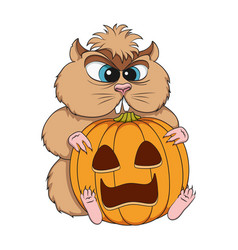 Angry hamster sits with a pumpkin vector