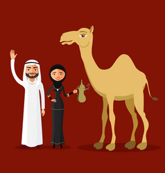 Arab family saudi cartoon man and woman vector