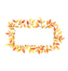 Autumn leaves on rectangle frame watercolor vector