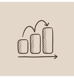Bar chart upward sketch icon vector image