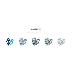 Barrette icon in different style two colored and vector