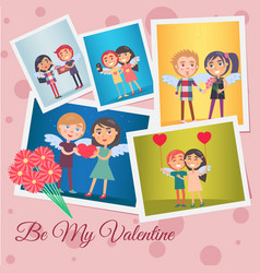 Be my valentine festive banner vector