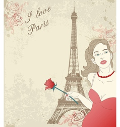 Beautiful girl in Paris vector image vector image